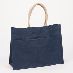 Charcoal Gray Jute Pocket Tote