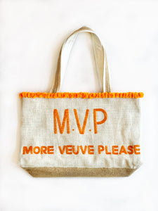 MVP More Veuve Please Champagne Beaded Tote Bag - Orange