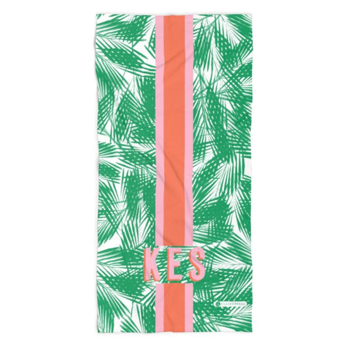 Palm Leaves Green Beach Towel