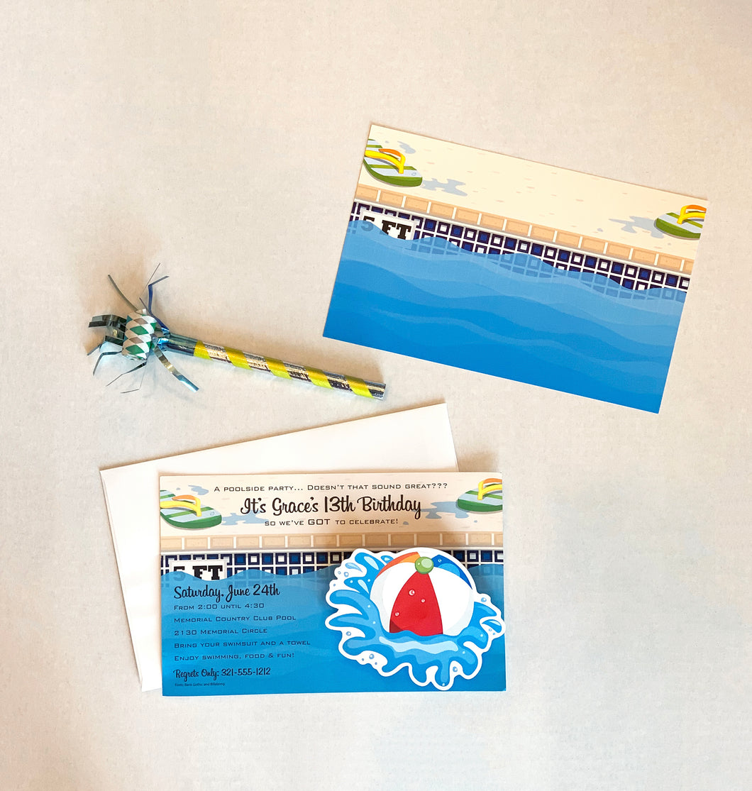 Pool Party with Beach Ball Invitations