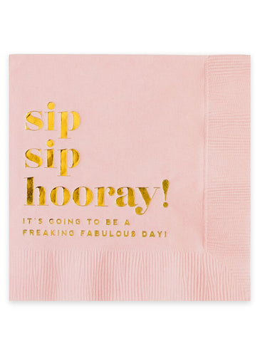Sip Sip Hooray - Blush Cocktail Napkins, Set of 20