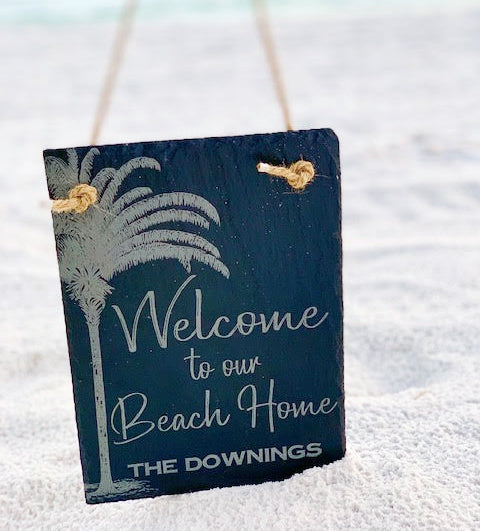 Beach House Slate Welcome Sign