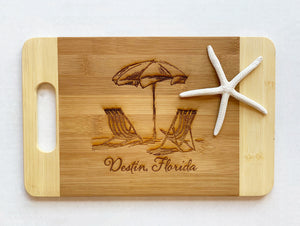 Destin, Florida with Beach Chairs - Small Cutting Board with Handle