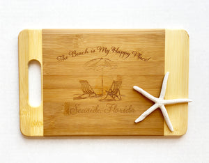 """The Beach is My Happy Place"" - Seaside, Florida - Small Cutting Board with Handle"