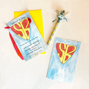 Super Hero, Superman, Super Sweet 16 Birthday Party Invitations