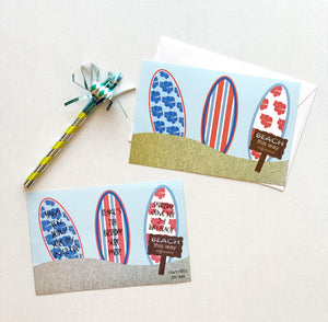 Surf Boards Paddle Board YOLO BOTE on The Beach Party Invitations