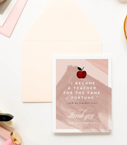 Teacher - Thank You Greeting Card