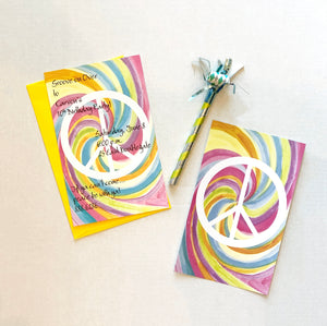 Tie-Dye Peace Sign Groovy Party Invitations