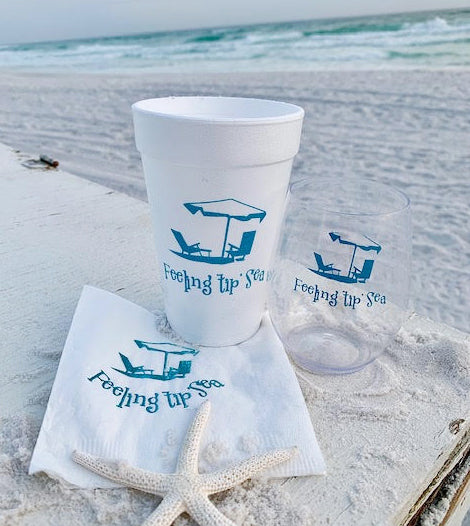 Beach Themed Set - Foam Cups, Stemless Shatterproof Wine Glasses and Napkins - 50 of Each