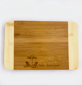 Bamboo Two Tone Cutting Board - Beach Chair Design, Medium