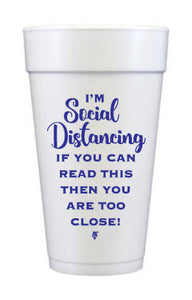 """I'm Social Distancing"" Quarantine Foam Cups, 20oz Pink or Navy"