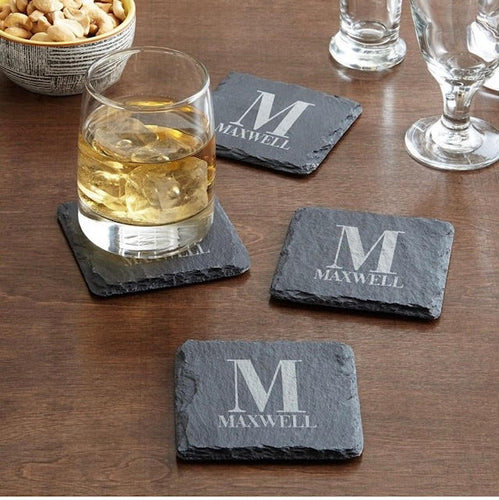 Engraved Slate Coasters, Set of 4