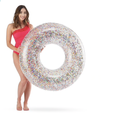 SeaGrove Glitter Confetti Large Pool Ring Float Clear