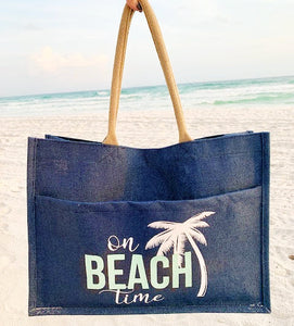 Beach Time Burlap Tote Bag