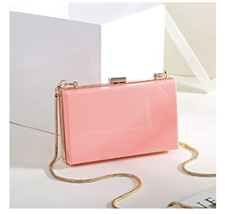 Solid Blush Pink Box Clutch Crossbody Bag