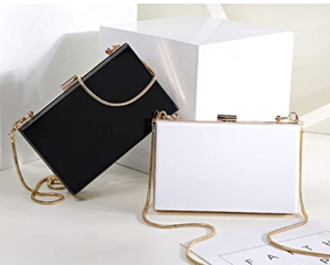 Solid Alys White Box Clutch Crossbody Bag