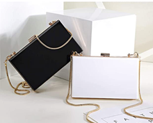 Solid Jet Black Box Clutch Crossbody Bag