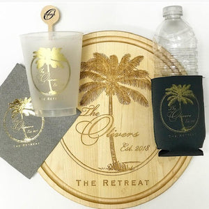 Oliver Beach Palm Entertaining Set - Cups, Napkins, Stir Sticks, Koozies & Cutting Board
