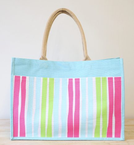 Scenic 30A Jute Pocket Tote in Beach Blue