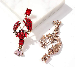 Red Rhinestone Crawfish Earrings