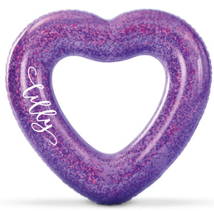 Purple Confetti Glitter Heart-Shaped Pool Float