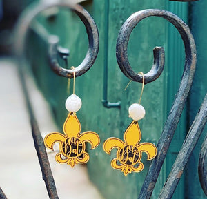 Who Dat Fleur de Lis Saints Earrings