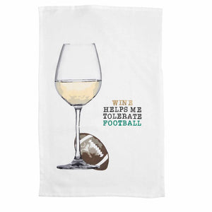 Wine Helps Me Tolerate Football Hand Towel