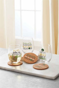 Family, Friends, Food & Football Wine Glass & Coaster Set
