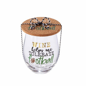 Wine Helps Me Tolerate Football Wine Glass & Coaster Set