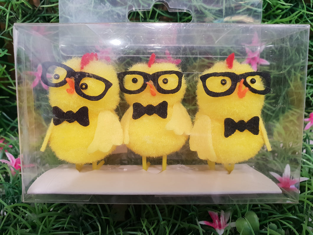Fluffy Chickens with Glasses Pack 3
