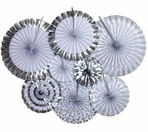 Paper Fan Set-Silver and White