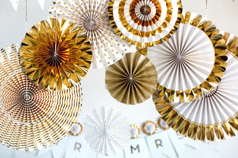 Paper Fan Set-Gold and White