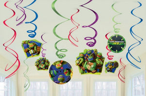 TMNT party swirl decorations
