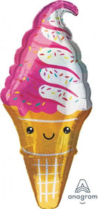Strawberry Sprinkle Ice Cream Cone Foil Supershape Balloon