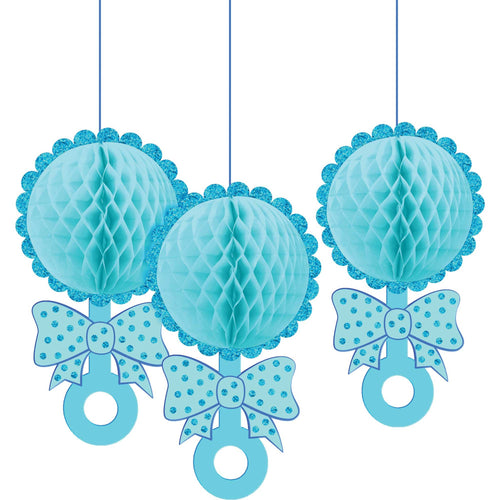 Baby Shower Honeycomb Rattles Blue