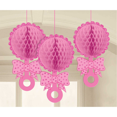 Baby Shower Honeycomb Rattles Pink