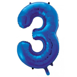 Number 3 Foil Balloon Blue - Jumbo