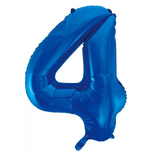 Number 4 Foil Balloon Blue - Jumbo