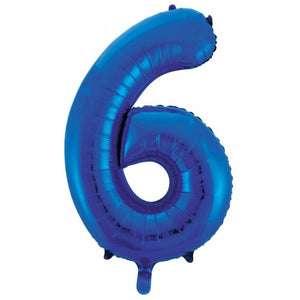Number 6 Foil Balloon Blue - Jumbo