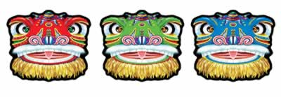 Chinese Dragon Face Cutouts - Pack 3