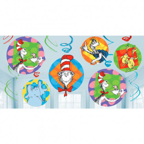Dr Seuss Cat In The Hat Swirl Decorations
