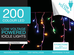 Fairy Lights 200 Colour LED Icicle Lights