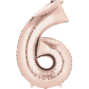 Number 6 Foil Balloon Rose Gold - Jumbo