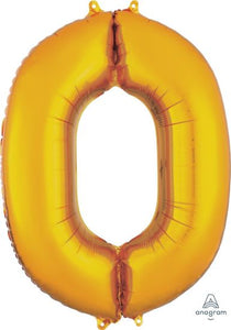 Number 0 Foil Balloon Gold - Jumbo