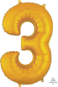 Number 3 Foil Balloon Gold - Jumbo