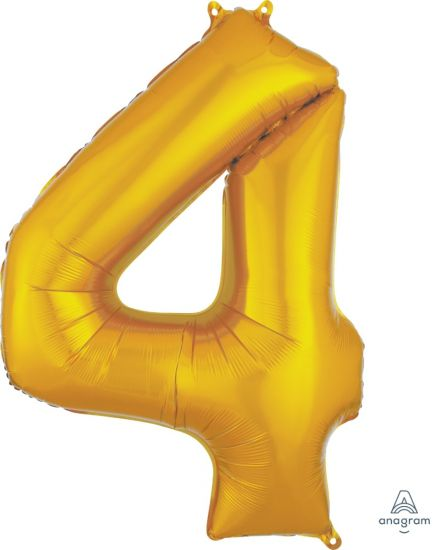 Number 4 Foil Balloon Gold - Jumbo