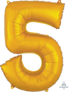 Number 5 Foil Balloon Gold - Jumbo