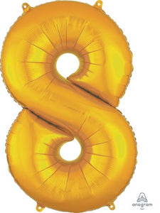Number 8 Foil Balloon Gold - Jumbo