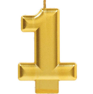 Gold Number 1 Candle