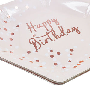 Happy Birthday Hexagon Paper Plates-Rose Gold